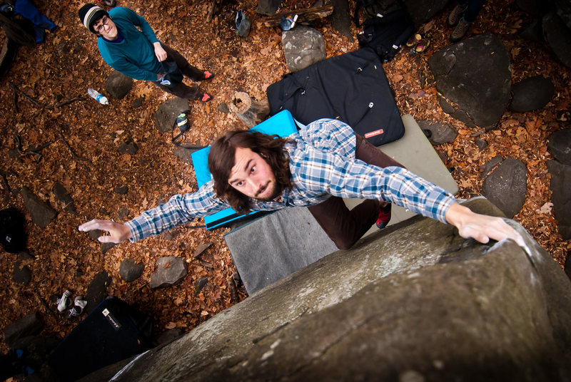 Rock Climbing Photo: Connor throws to top of Bovine V6 in Hanger 18, on...