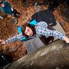 Connor throws to top of Bovine V6 in Hanger 18, on Haycock Mountain, Nockamixon, PA. December 2014.  Dan Allard Photography -- danallardphoto.com