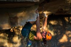 Rock Climbing Photo: Psyched for gear between the hard moves Sebastian ...