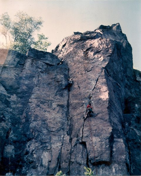 Dave Rone  on the sharp end and me at the hanging belay back in the early eigthies.