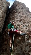 Rock Climbing Photo: Sasha at the start of Windfall.The route mostly fo...