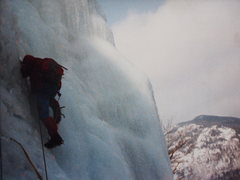 Rock Climbing Photo: MJ Cross leads out onto the ice right of the &quot...