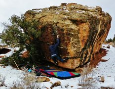 Rock Climbing Photo: Pete F. working through the crimps on Think Like A...