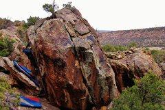 Rock Climbing Photo: Pete F. nearing the finish of Polyglot.