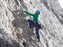 """Rock Climbing Photo: Working up the slab on """"Leather & Lace."""""""