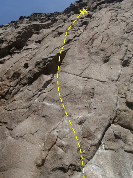 Climb the first pitch of Break The Chains then keep moving left on bolts after the anchor.