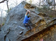 Rock Climbing Photo: Matched on the sloper ramp on Champagne Reality