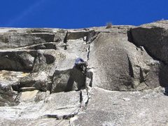 Rock Climbing Photo: Pitch 3 roof. There is a clipped bolt hidden behin...