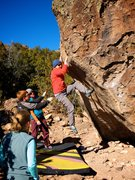 Rock Climbing Photo: Smack in the middle of the traverse. January 2015....
