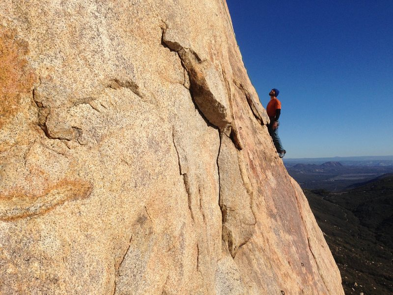 Rock Climbing Photo: On the easier arete above the cruxy lower section ...