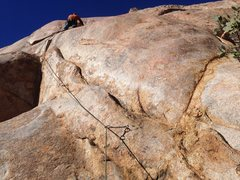 Rock Climbing Photo: Follow the rail out left. First crux mantle out of...