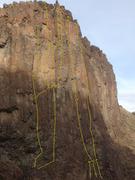 Rock Climbing Photo: Topo of the Sun Devil Wall