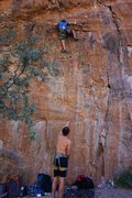 Rock Climbing Photo: Climber starting lower crux