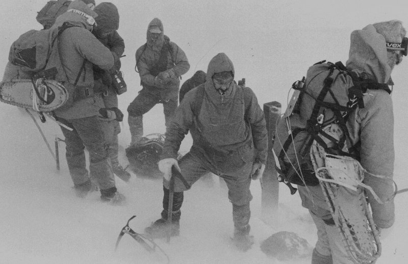 1982 North Conway Mt Rescue team on Mt Washington during the search for Hugh Herr and Jeffrey Batzer.wind 70mph . During the search one of the rescue team Albert Dow died in an avalanche. Photo David Stone.