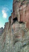Rock Climbing Photo: Falling of the Churning Sky crux