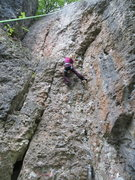 Rock Climbing Photo: Kate nearing the mid-way ledge on Never Stop Explo...
