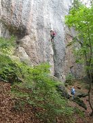 Rock Climbing Photo: Working up the juggy entry crack.
