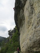 Rock Climbing Photo: The airy headwall.
