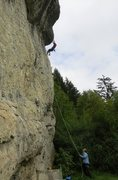 Rock Climbing Photo: Pulling the roof on good holds.  The redpoint crux...