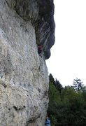 Rock Climbing Photo: Traversing out of the slab rest and towards the pu...