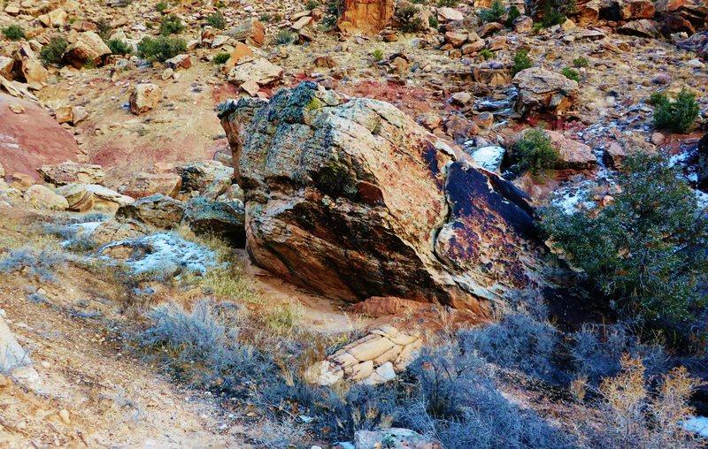Runaway Rock's north-facing overhang.