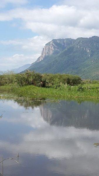 Cliff Face on Manyara Escarpment. <br> Sweet reflection shot.