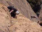 Rock Climbing Photo: jg climbing through the overhang past the bridge o...