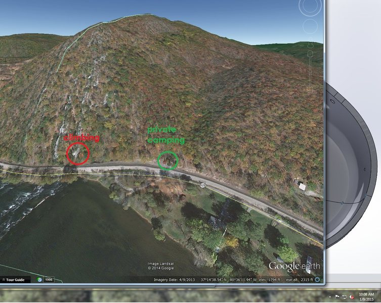 google earth screen cap with some call outs.  The camping is a private camp ground with camper for rent and tent space for rent, the owner was very accommodating, and can tell you much about the area, including other climbing spots and some caving just up the road