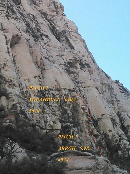This route has two pitches:<br> Pitch 1: aRrgh! 5.9R, 40 M<br> Pitch 2: Youahbull 5.10a, 50 M<br> <br> This route acts as an alternate start to Group Therapy, &quot;Youahbull&quot; ends at the first (second?) set of bolt anchors for Group Therapy, on the exposed face above the crack system. <br> <br> Climber can continue to follow Group Therapy, to make the route 5.10a. <br> <br> Or climber can rappel a serious of easy to find bolt anchors down the initial crack system of Group therapy with a single 60 M rope. <br>