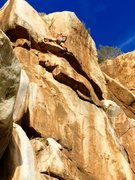 Rock Climbing Photo: Pulling through crux# 2 while projecting the Dharm...
