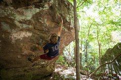 Rock Climbing Photo: Upper crux on Broken/Broken Direct