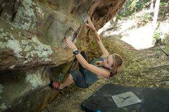 Rock Climbing Photo: Local climber cruising through the start on Public...