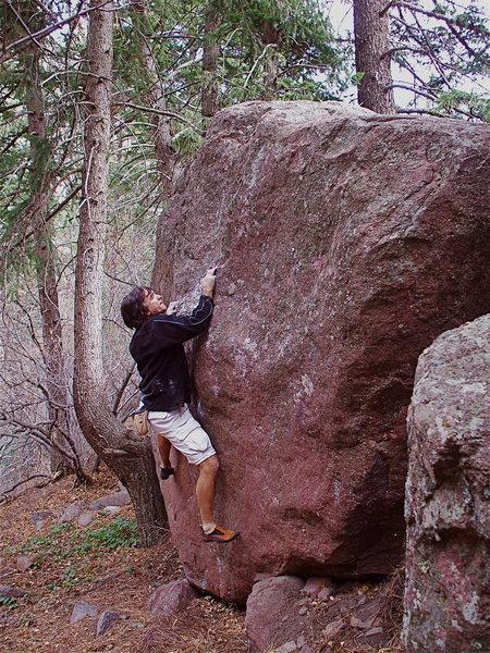 Hobo, V2, on the Hobo Boulder.