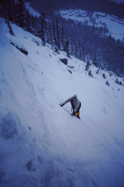 An old slide from early '80's.  Soloing up to the last pitch or two. Very cold.<br> <br> Cool clothing from a thrift store.