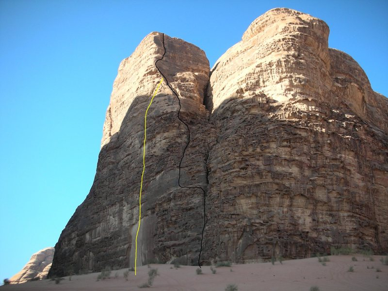 Rock Climbing Photo: Bedouin Camel Boys, black line is the line of asce...