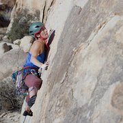 Rock Climbing Photo: Aubrey at the crux, onsighting Sidewinder.
