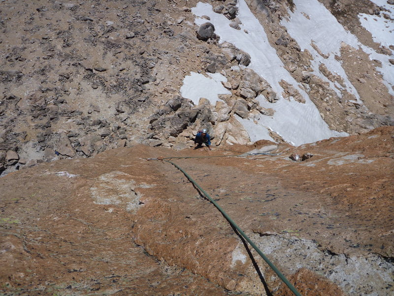 looking down at the slab on the crux pitch