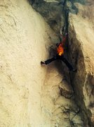 Rock Climbing Photo: Stemming up the 3 sided dihedral on Lords of Dogto...