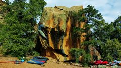 Rock Climbing Photo: Jared laVacque post crux, on the way to the Hueco,...