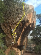 Rock Climbing Photo: The solid yellow line marks the stand start, with ...