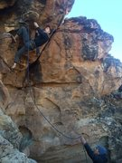 Rock Climbing Photo: A panicky second clip on my first 5.12a redpoint.