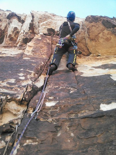 Rock Climbing Photo: The roof to kick off the second pitch, bomber #1 B...