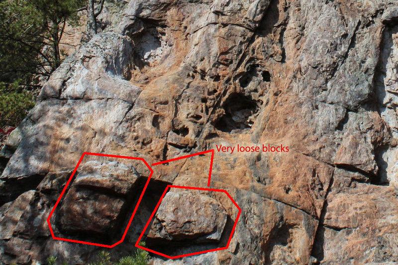 Rock Climbing Photo: very loose, large blocks