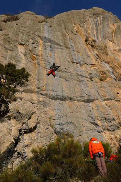 Rock Climbing Photo: Jordi enjoying the rock on 'le mur des lamentation...