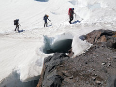 Rock Climbing Photo: A party navigating a crevasse as they enter Camp S...