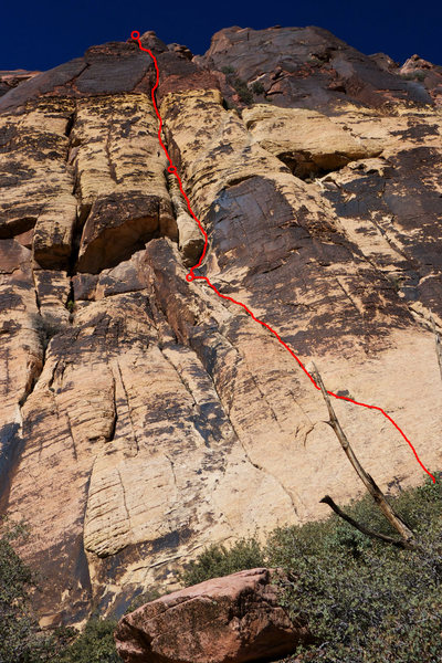 Rock Climbing Photo: The route, with belays indicated.