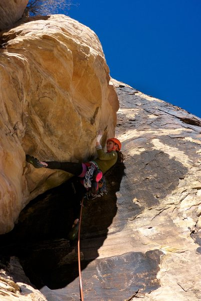 Rock Climbing Photo: Heather Weidner attempting the finicky, crux bulge...