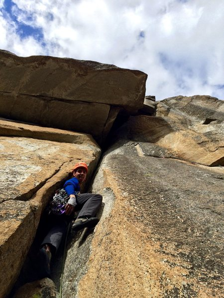 Rock Climbing Photo: Vitaliy leading up into the maw. An amazing chimne...