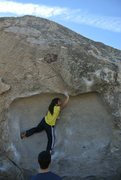 Rock Climbing Photo: Lidija's Mouth (V3), Pollen Grains, Bishop, CA