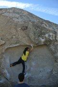 Rock Climbing Photo: Lidija's Mouth (V3), Pollen Grains, Bishop, CA